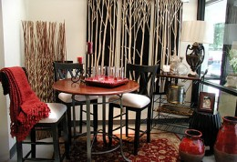 red and black interior design