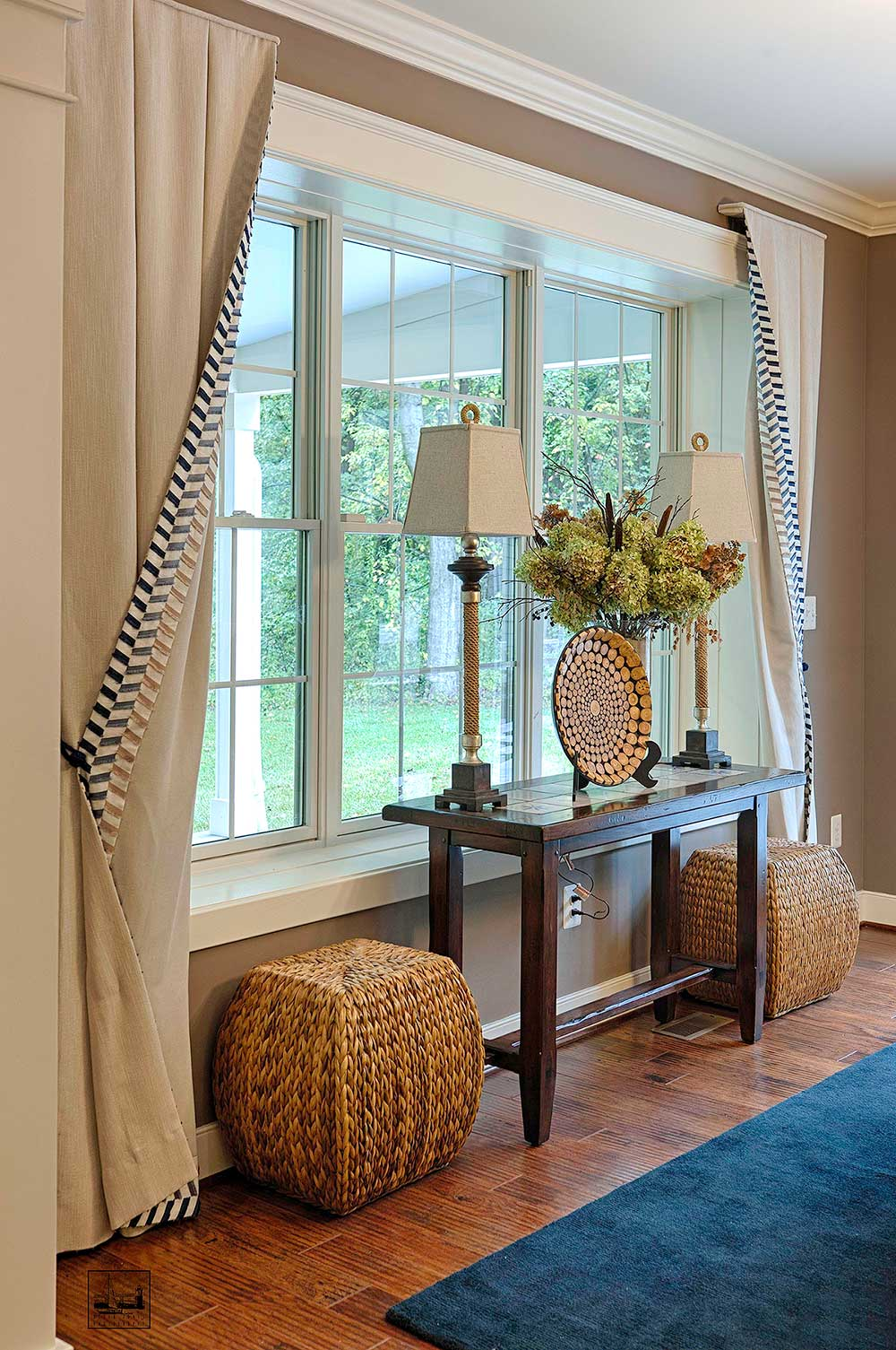 Maryland green show house for Living room window treatments