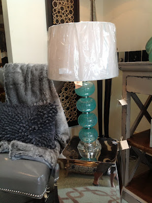 Aqua hand blown Sea Urchin inspired Lamp